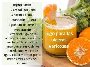 jugos para curar ulceras varicosas