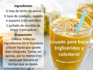 Licuado para bajar el colesterol y los trigliceridos